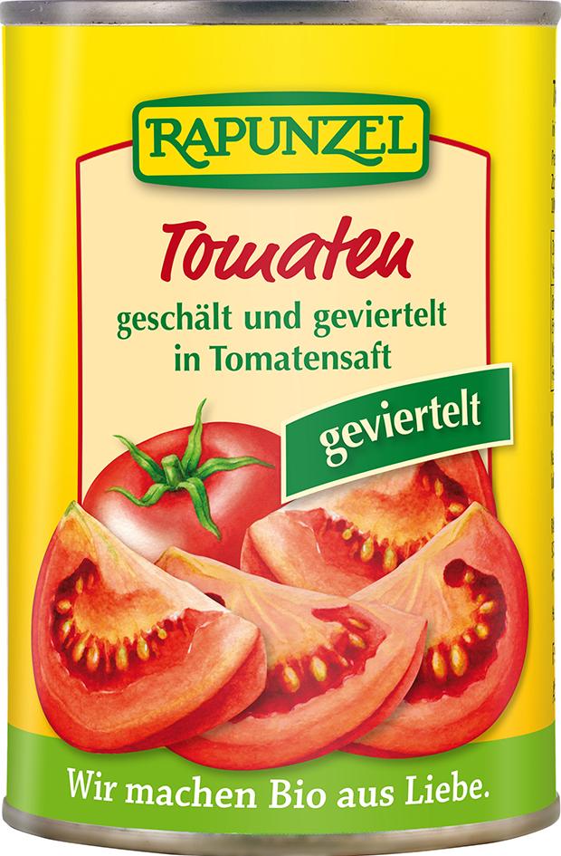 Bio rajčata loupaná čtvrcená 400 g
