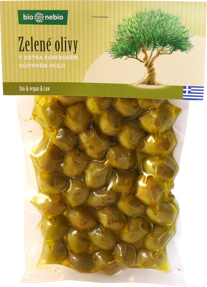 Bio zelené olivy v extra panenském olivovém oleji bio*nebio 250 g