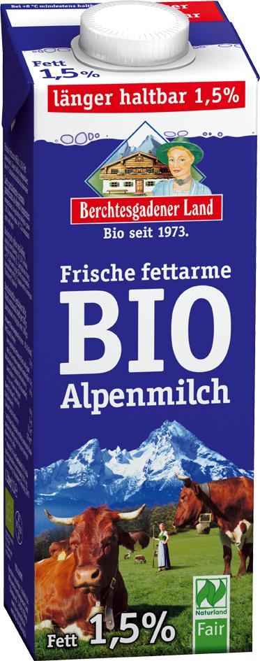Bio čerstvé alpské mléko polotučné 1 l