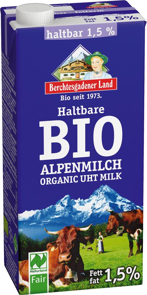 Bio trvanlivé alpské mléko polotučné 1 l
