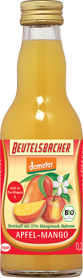 Bio jablečno-mangová šťáva 100% Beutelsbacher 0,2 l