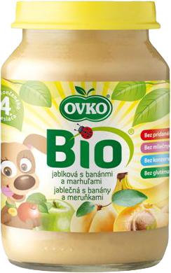 Bio jablečná s banány a meruňkami OVKO 190 g