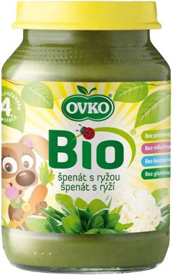 Bio špenát s rýží OVKO 190 g