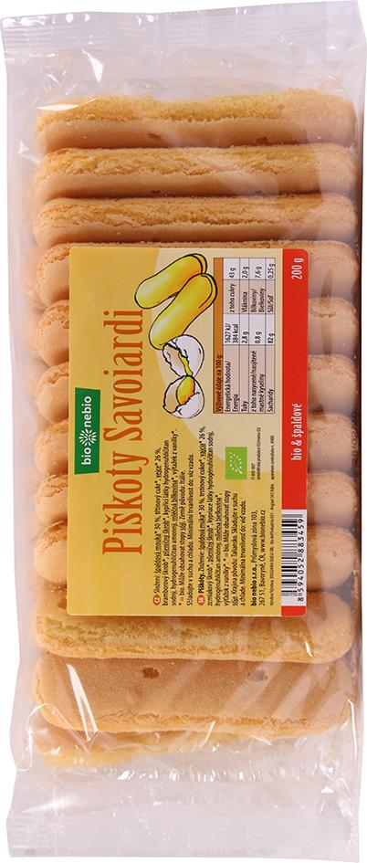 Bio špaldové piškoty cukrářské Savoiardi bio*nebio 200 g