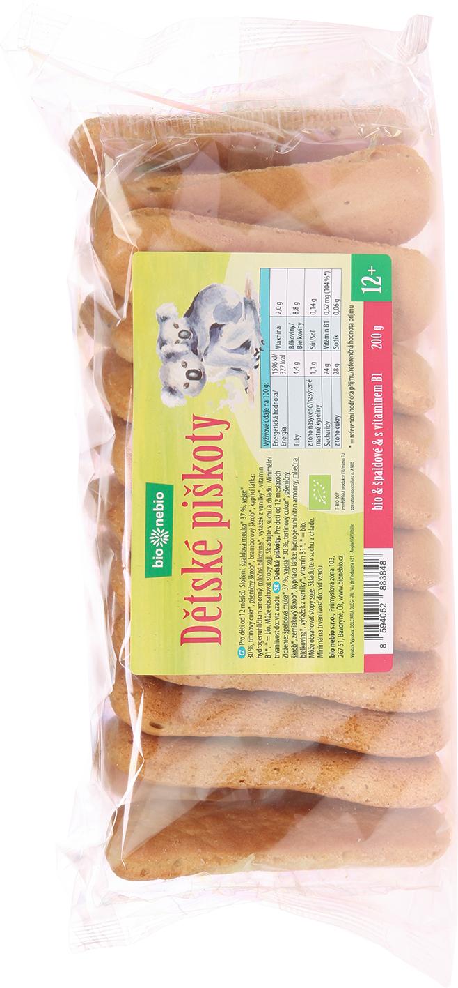 Bio dětské špaldové piškoty bio*nebio 200 g