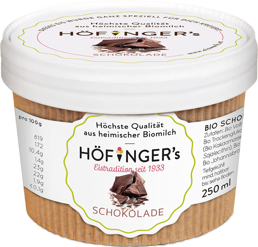 Zmrzlina smetanová čokoládová 250ml BIO
