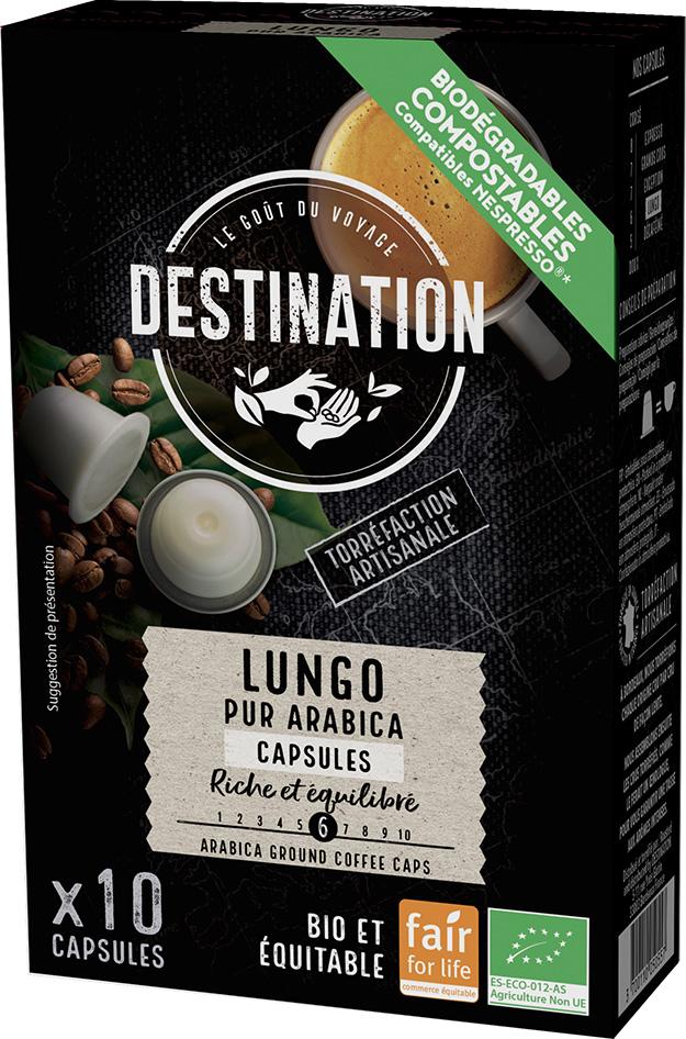 Bio kávové kapsle Lungo Destination 10 ks