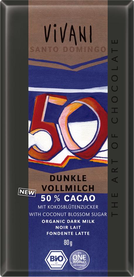 Bio mléčná čokoláda 50% s kokosovým cukrem VIVANI 80 g