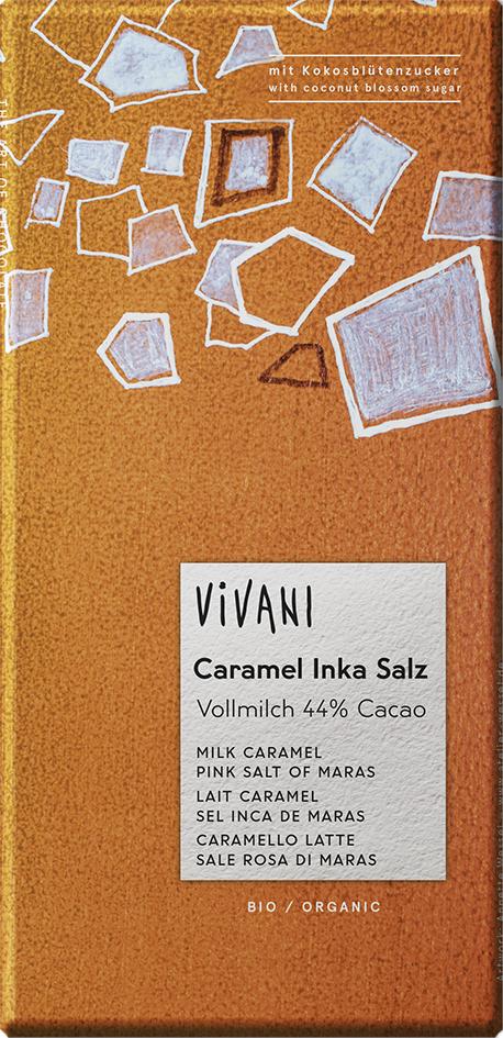 Bio mléčná čokoláda s karamelem a solí VIVANI 80 g