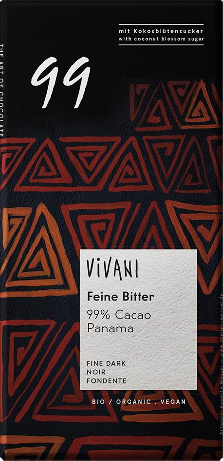 Bio hořká čokoláda 99% s kokosovým cukrem VIVANI 80 g