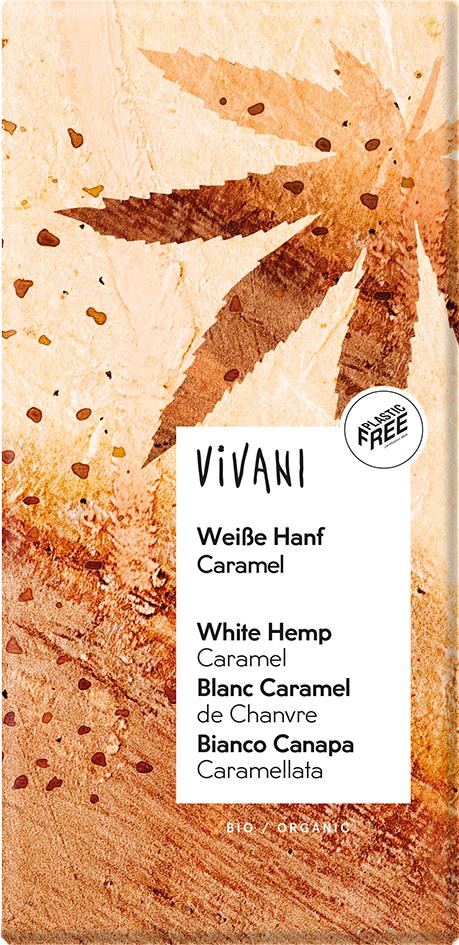 Bio bílá čokoláda s konopím a karamelem VIVANI 80 g
