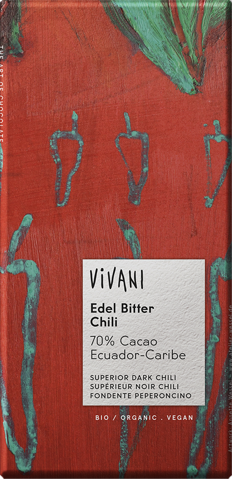 Bio hořká čokoláda 70% s chilli VIVANI 100 g