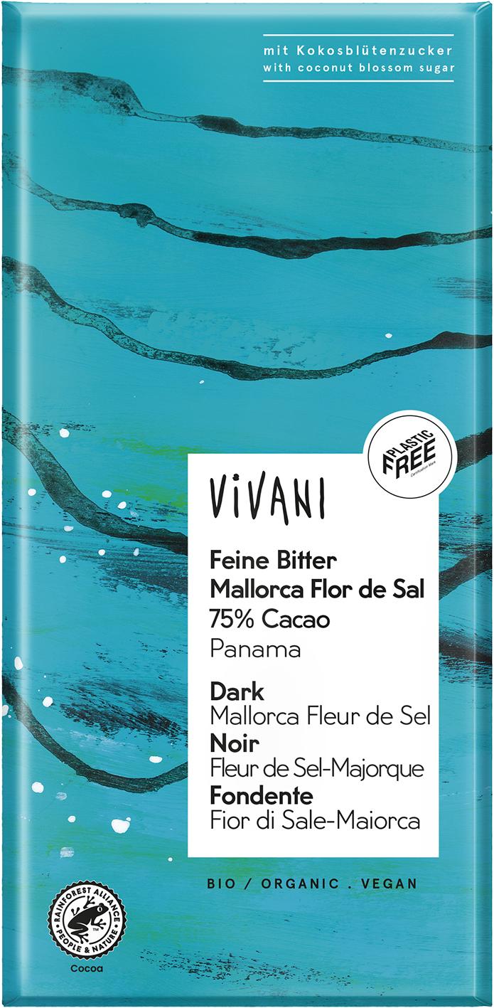 Bio hořká čokoláda se solí Fleur de Sel VIVANI 80 g