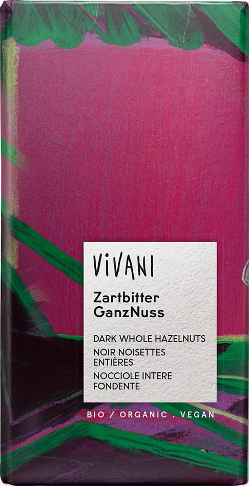 Bio hořká čokoláda s lískovými oříšky VIVANI 100 g