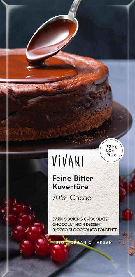 Bio hořká čokoláda na vaření VIVANI 200 g