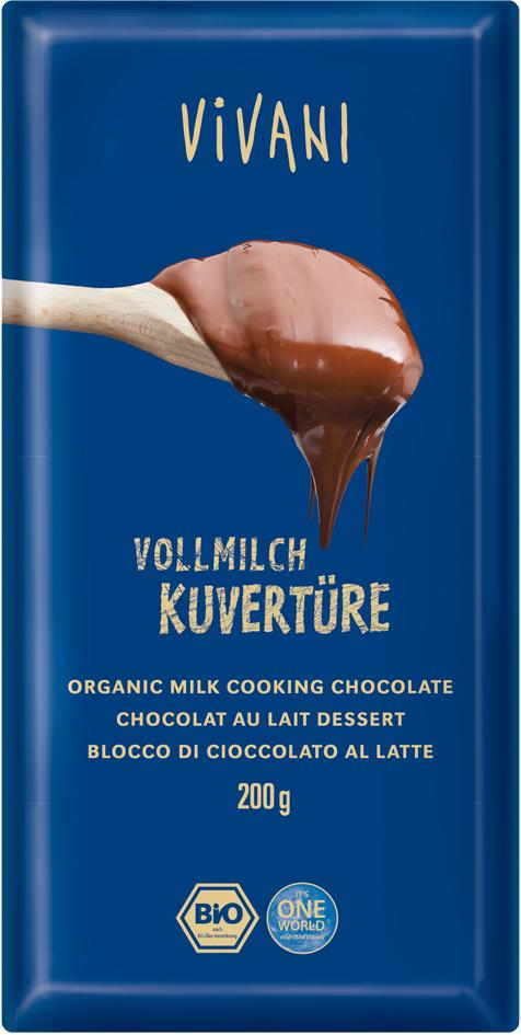 Bio mléčná čokoláda na vaření VIVANI 200 g