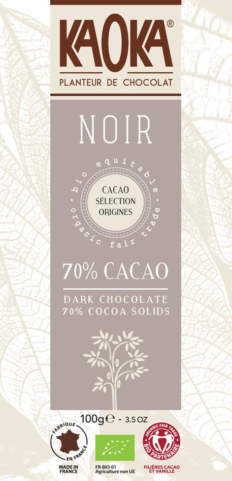 Bio hořká čokoláda 70% KAOKA 100 g