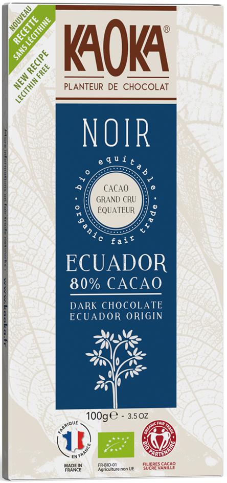 Bio hořká čokoláda 80% Ekvádor KAOKA 100 g