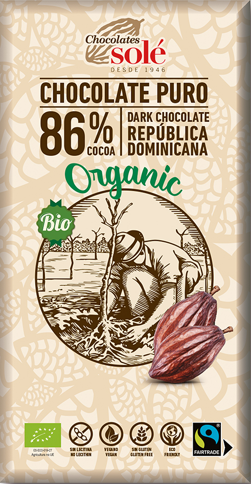 Bio hořká čokoláda 86% SOLÉ 100 g