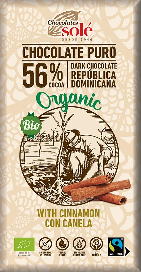 Bio hořká čokoláda se skořicí SOLÉ 100 g