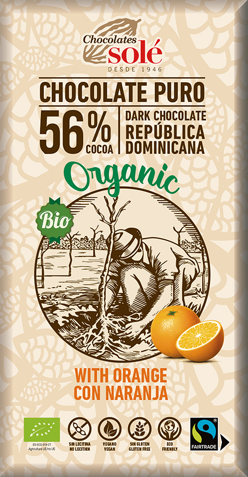 Čokoláda 56% s pomerančem 100g BIO