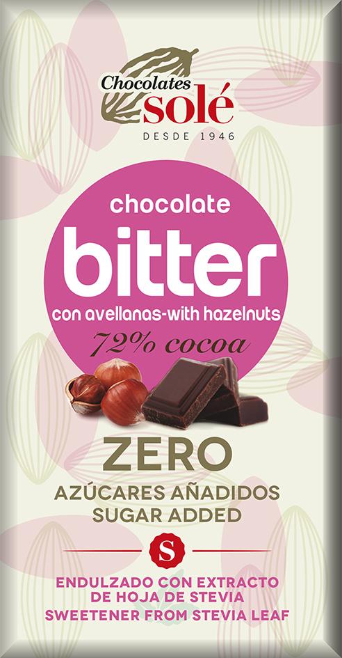 Hořká čokoláda s oříšky a stévií bez cukru SOLÉ 100 g