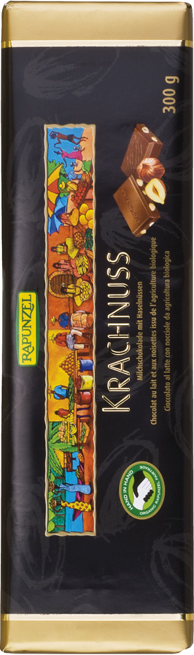 Bio mléčná čokoláda s lískovými oříšky RAPUNZEL 300 g