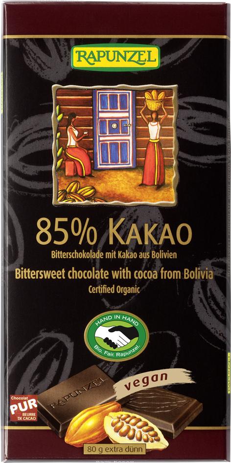 Bio hořká čokoláda 85% RAPUNZEL 80 g