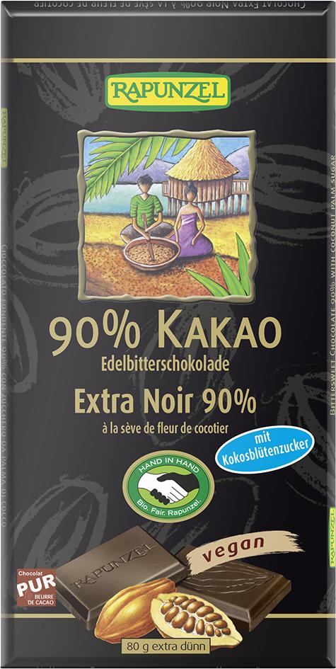 Bio hořká čokoláda 90% s kokosovým cukrem RAPUNZEL 80 g