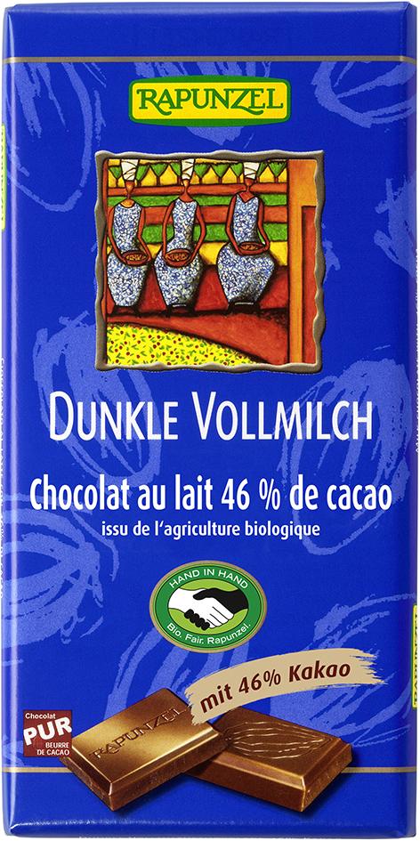 Bio tmavá mléčná čokoláda 46% RAPUNZEL 100 g