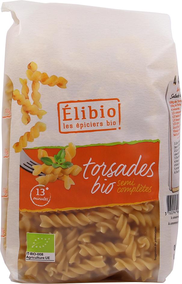 Bio spirálky polocelozrnné Elibio 500 g
